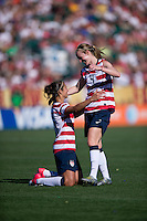 Carli Lloyd, Becky Sauerbrunn.  The USWNT defeated Costa Rica, 8-0, during a friendly match at Sahlen's Stadium in Rochester, NY.