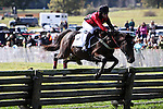 Jockey Justin Batoff and his horse Prospectors Strike make their jump during The Martha S. Wadsworth Memorial during the Genesee Valley Hunt Races held at The Nations Farm in Geneseo, NY. The team placed 1st.