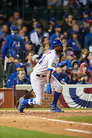 Chicago Cubs Dexter Fowler (24) hits a home run in the eighth inning during Game 4 of the Major League Baseball World Series against the Cleveland Indians on October 29, 2016 at Wrigley Field in Chicago, Illinois.  (Mike Janes/Four Seam Images)
