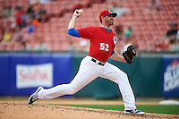Buffalo Bisons relief pitcher Bo Schultz (52) during a game against the Syracuse Chiefs on July 31, 2016 at Coca-Cola Field in Buffalo, New York.  Buffalo defeated Syracuse 6-5.  (Mike Janes/Four Seam Images)