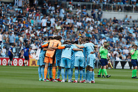 ST PAUL, MN - JULY 18: Minnesota United FC huddle during a game between Seattle Sounders FC and Minnesota United FC at Allianz Field on July 18, 2021 in St Paul, Minnesota.