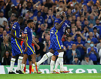 London, England, 14th September 2021. Romelu Lukaku of Chelsea celebrates scoring his sides opening goal during the UEFA Champions League match at Stamford Bridge, London. Picture credit should read: David Klein / Sportimage PUBLICATIONxNOTxINxUK SPI-1192-0020 <br /> London 14/09/2021 Stamford Bridge <br /> Football Uefa Champions League 2021/2022 <br /> Chelsea Vs Zenit St Petersburg <br /> Photo Imago/Insidefoto <br /> ITALY ONLY