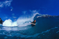 "A bodyboarder bodyboarding at the """"upper west side"""" on Maui"