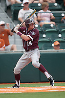 Texas A&M Aggies second baseman Scott Arthur #14 at bat during the NCAA baseball game against the Texas Longhorns on April 28, 2012 at UFCU Disch-Falk Field in Austin, Texas. The Aggies beat the Longhorns 12-4. (Andrew Woolley / Four Seam Images).