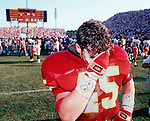 "FSU's linebacker Kirk Carruthers leaves the field after FSU's dissapointing 16-17 loss to Miami in the ""wide right"" game at Doak Campbell on Nov. 16, 1991."