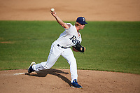 Princeton Rays starting pitcher Shane Baz (11) delivers a pitch during the first game of a doubleheader against the Johnson City Cardinals on August 17, 2018 at Hunnicutt Field in Princeton, West Virginia.  Johnson City defeated Princeton 6-4.  (Mike Janes/Four Seam Images)