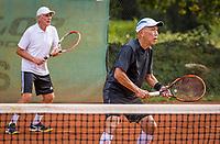 Hilversum, The Netherlands,  August 20, 2021,  Tulip Tennis Center, NKS, National Senior Tennis Championships, Men's double 75+, Frank van Lerven (NED) (L) and Tjoen Lew Lim (NED)<br /> Photo: Tennisimages/Henk Koster