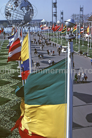 World's Fair, New York, 1964. View down the colorful Avenue of Flags towards the Unisphere. Photo by John G. Zimmerman.