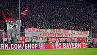 "13.12.2017,  Football 1.Liga 2017/2018, 14. match day, FC Bayern Muenchen - 1.FC Koeln, in Allianz-Arena Muenchen. Bayernfans and Plakat  -  die Ticketspreise Auswaerts ""Melkkuh Gaestefans"" Praesident Uli Hoeness (FC Bayern) melkt die Kuh, protest ticket prices, pricing,  *** Local Caption *** © pixathlon<br /> <br /> +++ NED + SUI out !!! +++<br /> Contact: +49-40-22 63 02 60 , info@pixathlon.de"