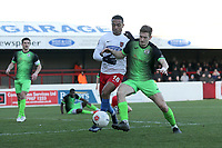 Alex Reid of Dagenham and Dan Cowan of Stockport during Dagenham & Redbridge vs Stockport County, Vanarama National League Football at the Chigwell Construction Stadium on 8th February 2020