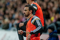 Sunday 9th November 2014<br /> Pictured: Leon Britton of Swansea City on the bench for Swansea<br /> Re: Barclays Premier League Swansea City v Arsenal at the Liberty Stadium, Swansea, Wales,UK