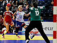 BELGRADE, SERBIA - DECEMBER 16:  Svetlana Ognjenovic (L) of Serbia jump to scores past Orsolya Herr (R) of Hungary during the Women's European Handball Championship 2012 third place match between Hungary and Serbia at Arena Hall on December 16, 2012 in Belgrade, Serbia. (Photo by Srdjan Stevanovic/Getty Images) ***Local Caption ***Svetlana Ognjenovic;Eva Kiss