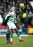 St Johnstone v Celtic…..01.03.20   McDiarmid Park   Scottish Cup Quarter Final<br />Jason Kerr heads clear from Odsonne Edouard<br />Picture by Graeme Hart.<br />Copyright Perthshire Picture Agency<br />Tel: 01738 623350  Mobile: 07990 594431