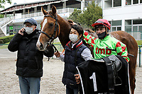 15th May 2020, Muenchen-Riem racecourse, Munich, Germany. Flat racing;  Anatello with Clement Lecoeuvre and Trainer Michael Figge