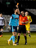2nd February 2021; St Mirren Park, Paisley, Renfrewshire, Scotland; Scottish Premiership Football, St Mirren versus Hibernian; Goalkeeper Jak Alnwick of St Mirren is shown a red card and sent off in the 36th minute for a foul