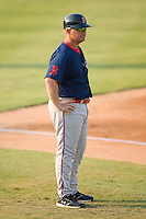 Greenville Drive manager Kevin Boles (19) in the third base coaches box at Fieldcrest Cannon Stadium in Kannapolis, NC, Sunday August 10, 2008. (Photo by Brian Westerholt / Four Seam Images)