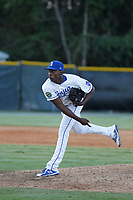 Burlington Royals pitcher Yerelmy Garcia (44) on the mound during a game against the Greeneville Reds at the Burlington Athletic Complex on July 7, 2018 in Burlington, North Carolina. Burlington defeated Greeneville 2-1. (Robert Gurganus/Four Seam Images)