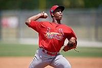 GCL Cardinals pitcher Rodard Avelino delivers a pitch during a game against the GCL Mets on August 6, 2018 at Roger Dean Chevrolet Stadium in Jupiter, Florida.  GCL Cardinals defeated GCL Mets 6-3.  (Mike Janes/Four Seam Images)