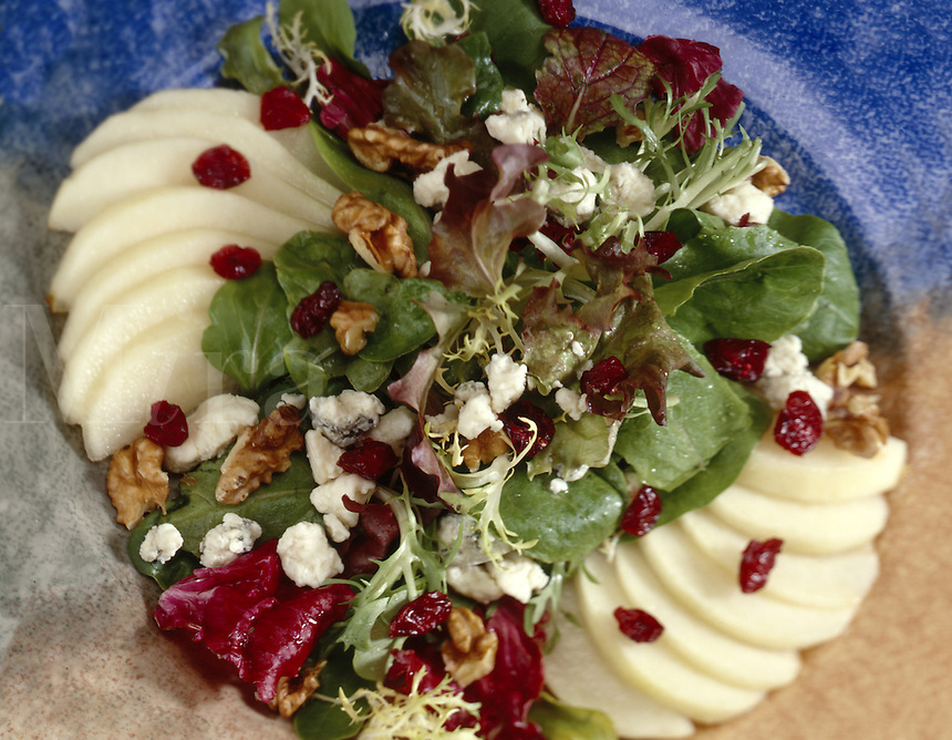 Spring Lettuce with Pears, Roquefort Cheese, and Cranberries