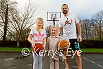 Fergal O'Sullivan who is doing basketball practice and recordings for Zoom sessions for indoor and outdoor practice. L to r: Ava, Fiadh and Fergal O'Sullivan
