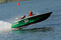 "Kevin Klosterman, 333 ""Miss Mandella"" (racing flatbottom ski boat)"