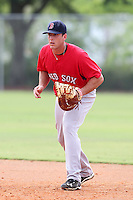Boston Red Sox first baseman Travis Shaw #23 during an Instructional League game against the Minnesota Twins at Red Sox Minor League Training Complex in Fort Myers, Florida;  October 3, 2011.  (Mike Janes/Four Seam Images)