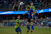 SAN JOSE, CA - MAY 12: Tommy Thompson #22 of the San Jose Earthquakes goes up for a header with Kelyn Rowe #22 of the Seattle Sounders during a game between San Jose Earthquakes and Seattle Sounders FC at PayPal Park on May 12, 2021 in San Jose, California.