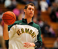 13 February 2011: University of Vermont Catamount forward Garrett Kissel, a Senior from Springfield, MA, warms up prior to facing the Binghamton University Bearcats at Patrick Gymnasium in Burlington, Vermont. The Catamounts came from behind to defeat the Bearcats 60-51 in their America East matchup. The Cats took part in the National Pink Zone Breast Cancer Awareness Program by wearing special white jerseys with pink trim. The jerseys were auctioned off following the game with proceeds going to the Vermont Cancer Center. Mandatory Credit: Ed Wolfstein Photo