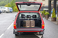 The bood of the Mercedes W123 series 230TE estate version, outside the Penderyn Whisky Distillery in south Wales, UK. Tuesday 19 June 2018
