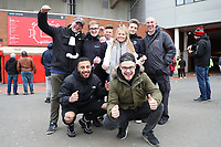 Swansea City fans outside Old Trafford prior to the Premier League match between Manchester United and Swansea City at the Old Trafford, Manchester, England, UK. Saturday 31 March 2018