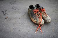 Helen Wyman's (GBR/Kona) shoes after training<br /> <br /> UCI Cyclocross World Cup Heusden-Zolder 2015