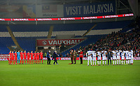 Wales and Panama players observe a minute's silence for Remembrance Day during the international friendly soccer match between Wales and Panama at Cardiff City Stadium, Cardiff, Wales, UK. Tuesday 14 November 2017.