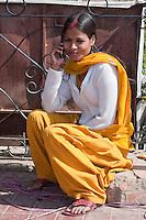 Kathmandu, Nepal.  Nepali Woman Using Cell Phone.
