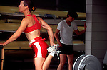 Rowing, Linda Murrie, US National Team rower stretching at ARCO Olympic Training Center,