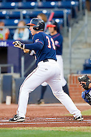 Nate Irving #18 of the Virginia Cavaliers squares to bunt against the Duke Blue Devils at Durham Bulls Athletic Park on April 20, 2012 in Durham, North Carolina.  The Blue Devils defeated the Cavaliers 6-3.  (Brian Westerholt/Four Seam Images)