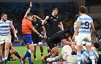 12th September 2021; Cbus Super Stadium, Robina, Queensland, Australia; Rugby International series, New Zealand versus Argentina: Referee awards the Dalton Papalii try.