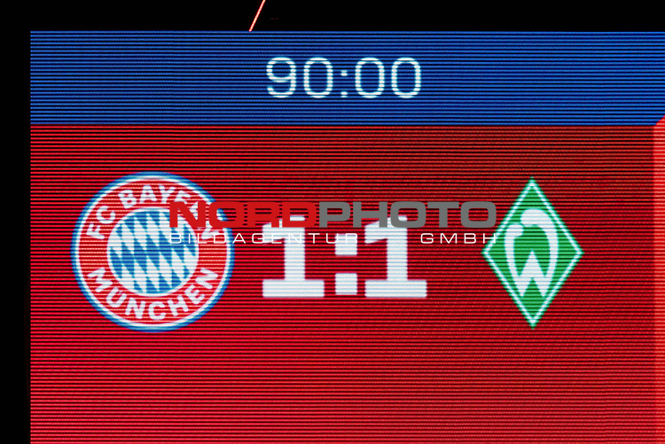 21.11.2020, Allianz Arena, Muenchen, GER,  FC Bayern Muenchen SV Werder Bremen <br /> <br /> <br />  im Bild Endstand auf der Anzeigetafel 1-1 <br /> <br /> <br /> <br /> Foto © nordphoto / Straubmeier / Pool/ <br /> <br /> DFL regulations prohibit any use of photographs as image sequences and / or quasi-video.