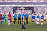 PHILADELPHIA, PA - AUGUST 29: The USWNT and Portugal stand for anthems prior to a game between Portugal and the USWNT at Lincoln Financial Field on August 29, 2019 in Philadelphia, PA.