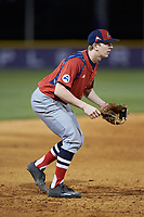 NJIT Highlanders third baseman Tommy Derer (27) on defense against the High Point Panthers at Williard Stadium on February 18, 2017 in High Point, North Carolina. The Highlanders defeated the Panthers 4-2 in game two of a double-header. (Brian Westerholt/Four Seam Images)