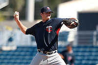 Minnesota Twins minor league pitcher AJ Achter delivers a pitch during a game vs. the New York Mets in an Instructional League game at City of Palms Park in Fort Myers, Florida;  October 4, 2010.  Photo By Mike Janes/Four Seam Images