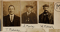 BNPS.co.uk (01202) 558833<br /> Pic: ChiswickAuctions/BNPS<br /> <br /> Pictured: T. Mahoney, J. Manley and W. Mitchell make up a rouges gallery<br /> <br /> The London Peaky Blinders<br /> <br /> A collection of remarkably rare Victorian mugshots used by police to identify London's gangs has emerged for sale more than 120 years later.<br /> <br /> The photographic album compiled between 1895 and 1916 has portraits of hundreds of men known to forces in south and east London.<br /> <br /> Dressed in sharp suits and caps reminiscent of the Peaky Blinders, it is thought many were involved in organised crime and racketeering.