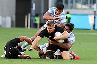 14th November 2020, Sydney, Australia;  Jack Goodhue is tackled. Tri Nations rugby union test match,  New Zealand All Blacks versus Argentina Pumas. Bankwest Stadium, Sydney, Australia.