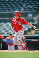Philadelphia Phillies Luke Miller (30) hits a single during a Florida Instructional League game against the Baltimore Orioles on October 4, 2018 at Ed Smith Stadium in Sarasota, Florida.  (Mike Janes/Four Seam Images)