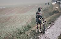 a stranded Fernando Gaviria (COL/UAE-Emirates)<br /> <br /> 118th Paris-Roubaix 2021 (1.UWT)<br /> One day race from Compiègne to Roubaix (FRA) (257.7km)<br /> <br /> ©kramon