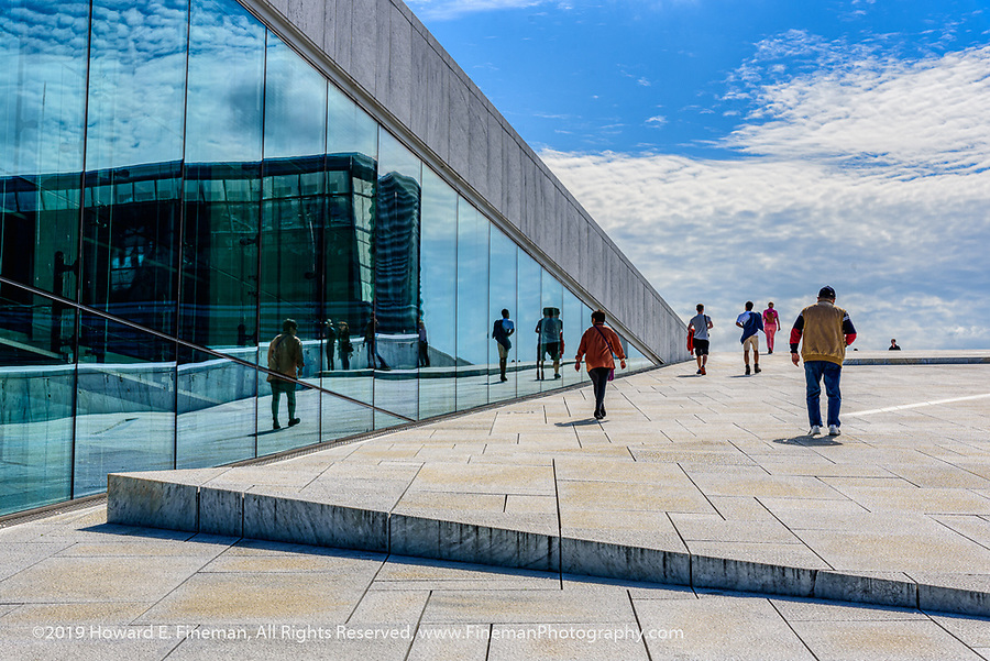 Another path up the roof of the Oslo Opera House