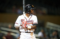 Salt River Rafters Travis Demeritte (11), of the Atlanta Braves organization, during a game against the Surprise Saguaros on October 21, 2016 at Salt River Fields at Talking Stick in Scottsdale, Arizona.  Salt River defeated Surprise 3-2.  (Mike Janes/Four Seam Images)