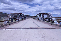 A pony truss bridge carries an alignment of the Lincoln Highway over the Blacks Fork River near Lyman, Wyoming