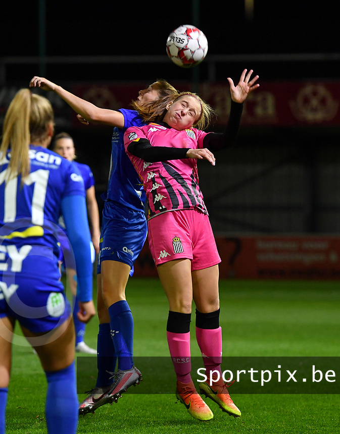 Fran Meersman (5 Gent) pictured in a fight for the ball with Ludmila Matavkova (9 Charleroi) during a female soccer game between  AA Gent Ladies and Sporting Charleroi Feminin on the fifth matchday of the 2020 - 2021 season of Belgian Scooore Womens Super League , friday 16 th of October 2020  in Oostakker , Belgium . PHOTO SPORTPIX.BE | SPP | DAVID CATRY