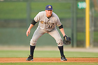 First baseman Luke Murton #34 of the Charleston RiverDogs on defense against the Kannapolis Intimidators at Fieldcrest Cannon Stadium May 29, 2010, in Kannapolis, North Carolina.  Photo by Brian Westerholt / Four Seam Images