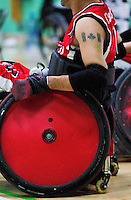 15 AUG 2011 - LEEDS, GBR - Canada's Jared Funk waits on the sidelines for a chance to play during the wheelchair rugby exhibition match between Great Britain and Canada .(PHOTO (C) NIGEL FARROW)